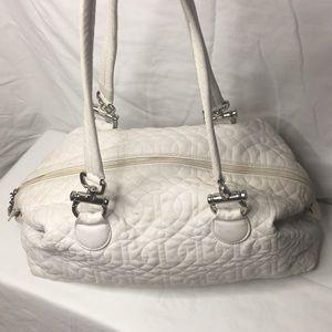 Donald J Pliner White quilted leather shoulder bag
